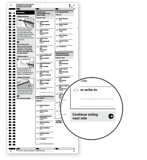 Call out showing instructions on a paper ballot where needed.