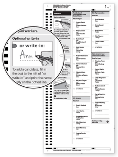 Example of a ballot with a clear write-in instructions