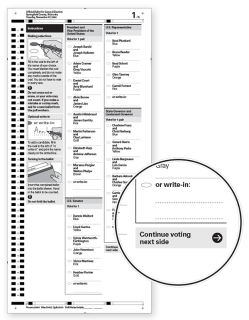 Example ballot with instruction at the bottom of the column to continue onto the next page