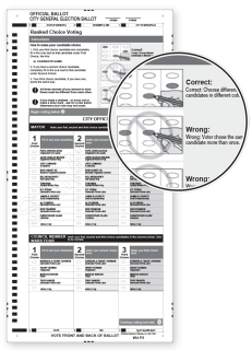 Example ballot with diagrams showing how to correctly select a candidate