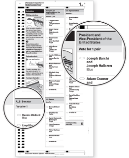 Example ballot showing clear headers for each contest.