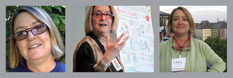 Nancy Frishberg: headshot, presenting a ballot design concept, at a conference