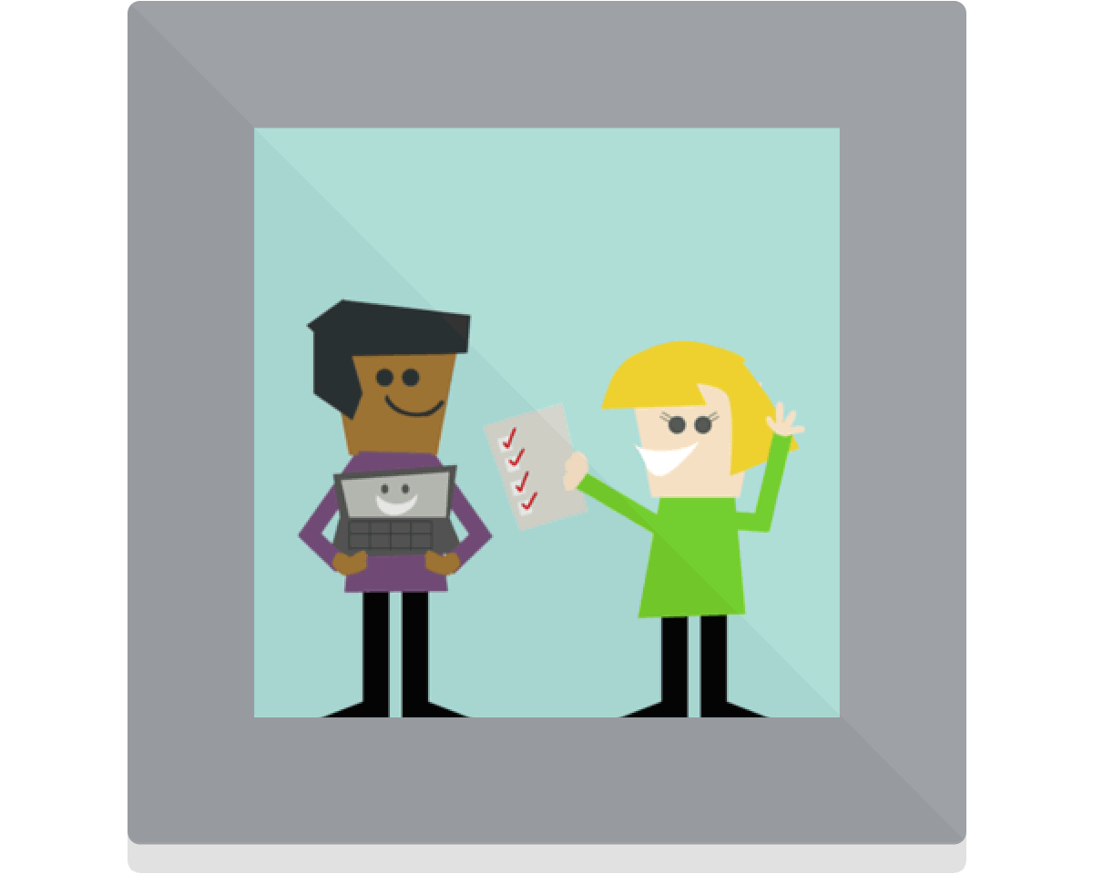 Project: Toolkit. Two figures holding digital tools