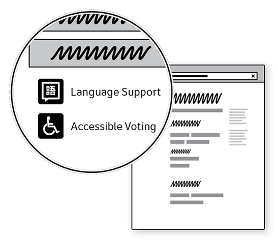Sketch of a web site with language support and accessible voting links in the page so they are easy to find.