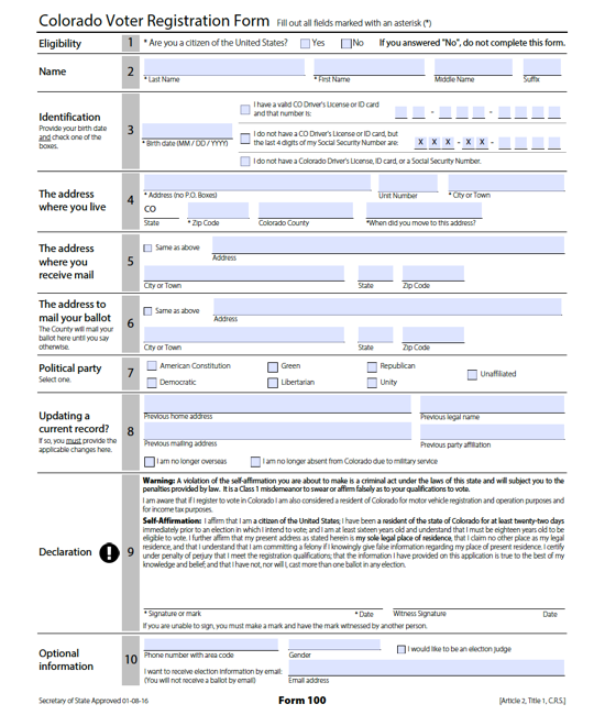Colorado voter registration form