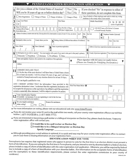 Voter registration forms in Pennsylvania and others Center for – Voter Registration Form