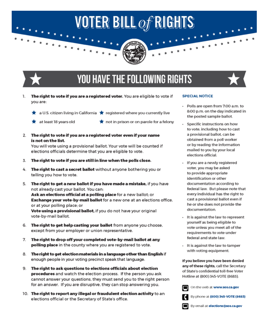 image of the poster. The voter bill or rights is large, with smaller text on the side