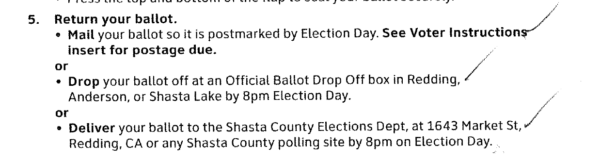 A list of options for returning the ballot, with a hand-written mark next to each one