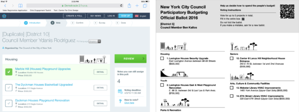 Digital ballot screen with 1 project selected and the top of a paper ballot with 2 columns of projects.