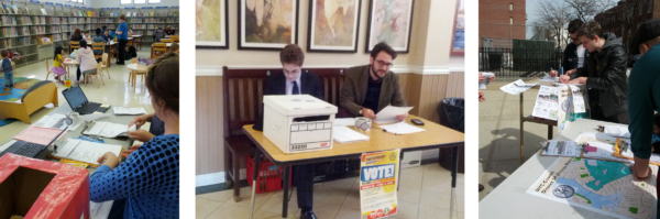 Photos of the voting tables in three different spaces.
