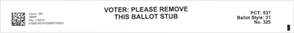 Stub with the instruction VOTER PLEASE REMOTE THIS BALLOT STUB