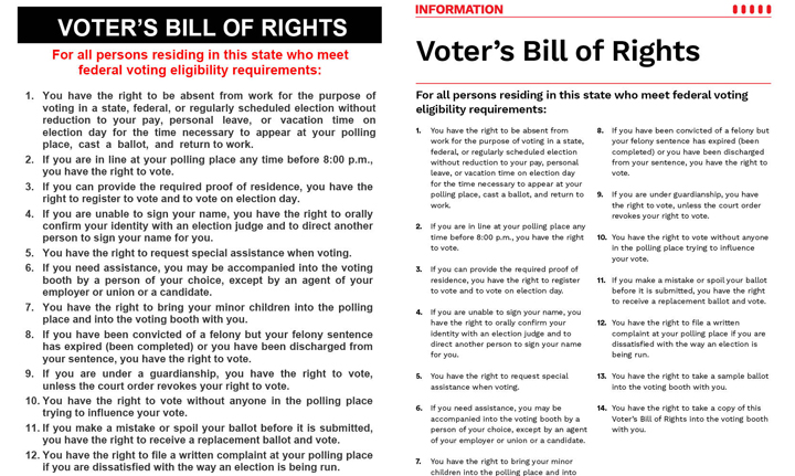 Image left with old voter's bill of rights. Image right with new voter's bill of rights