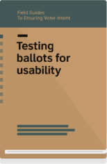 Field Guide 3 cover- Testing ballots for usabiltity