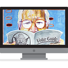 Drawing of a voter reading a voter guide