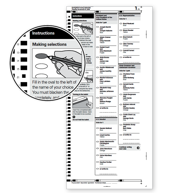 Call out on a paper ballot showing instructions at the top