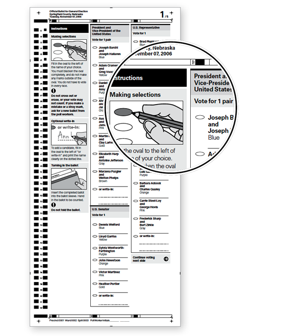 Callout showing shading used on a paper ballot