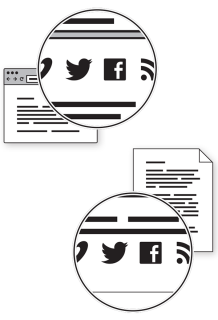 Diagram showing social media links in the header or footer of the webpage.