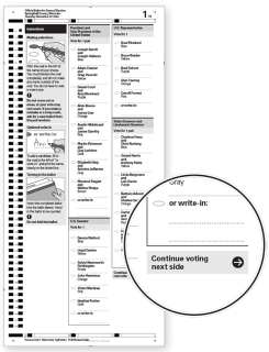 Example ballot with clear instruction to continue voting on the next page.