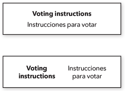 Examples of two languages used side-by-side in voting instructions