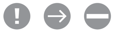 Common ballot icons including an arrow and exclamation point