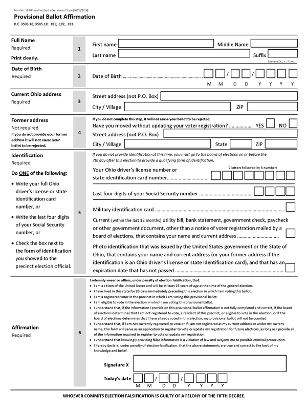 an updated provisional ballot form for ohio center for