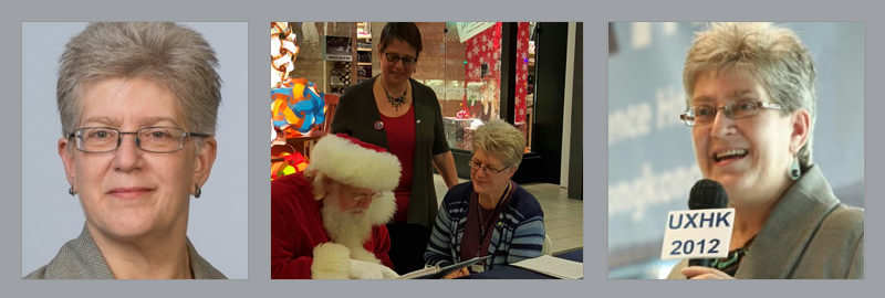 Whitney headshot, conducting research with Santa Claus, speaking at UX Hong Kong