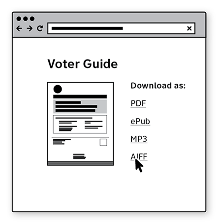 Sketch of a pages with a voter guide to download as PDF, ePUB, MP3, or AIFF