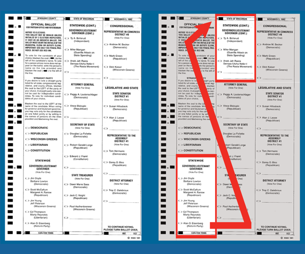 Ballot image from Kewaunee showing the ballot and highlights of the split contest.