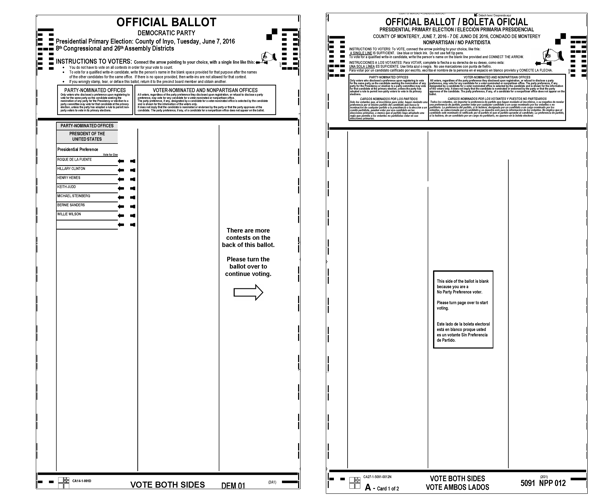 Ballot with a message to turn the ballot over