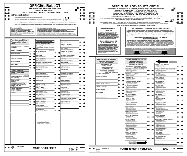 Ballot image with two columns on the front of the ballot