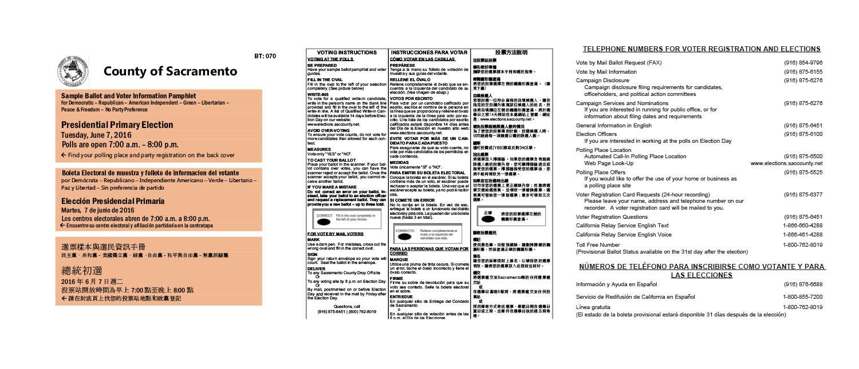 Sampler of trilingual voter guide
