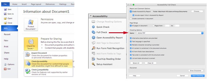 Screen shots of accessibility checking tools