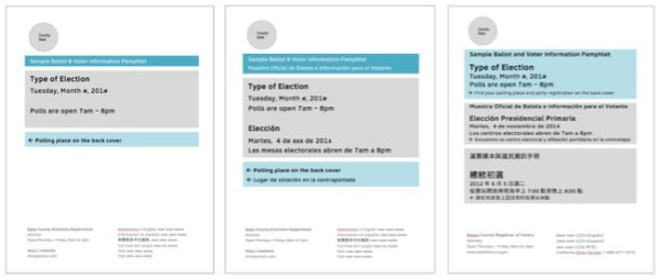 Layout for covers with 1, 2, and 3 languages
