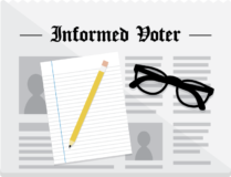 Informed Voter (logo: news page, paper, pencil, glasses)