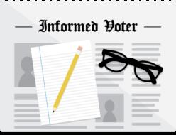 Informed Voter (logo: news page, paper, pencil, glasses)