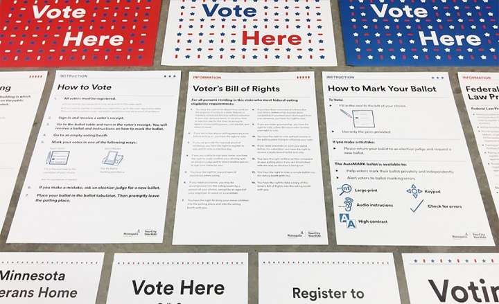 Photo of suite of polling place signage