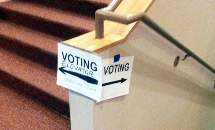 Photo with signs reading 'voting' with arrows pointing left and right