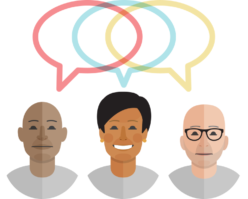 3 cartoons of people with different colored speech balloons overlapping
