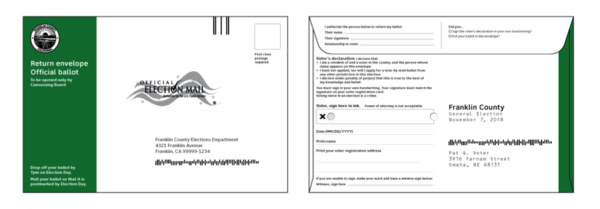 Images of the front and back of the return envelopes in English